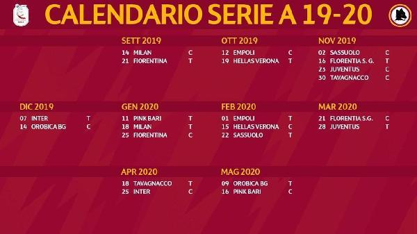 Calendario Milan Campionato.Roma Femminile Il Calendario Del Campionato 2019 20 Si