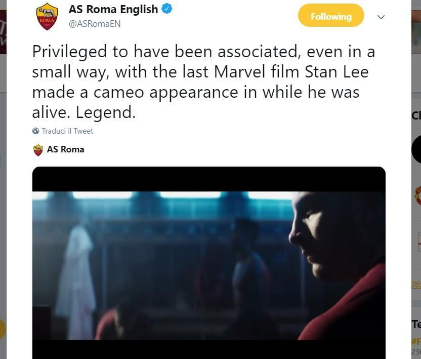 VIDEO - La Roma ricorda Stan Lee su Twitter: