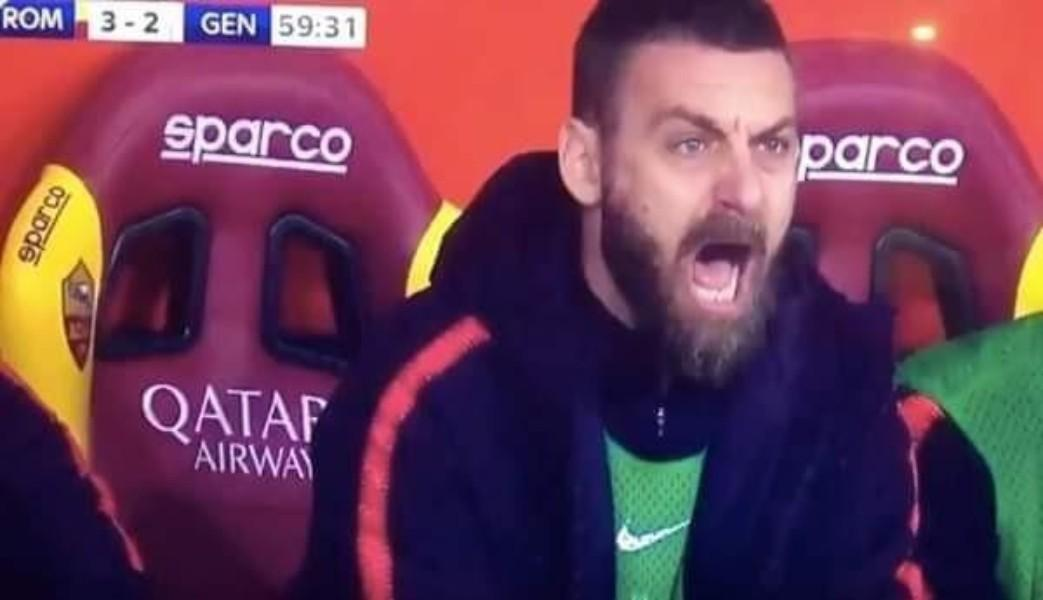 VIDEO - La Roma segna e De Rossi esulta in panchina: l'urlo del Capitano