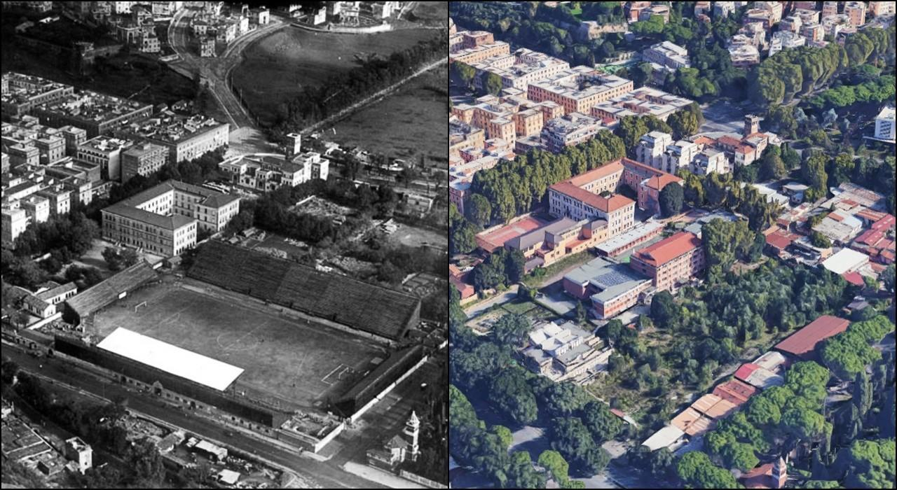 Campo Testaccio all'epoca e l'area come appare oggi da Google Maps