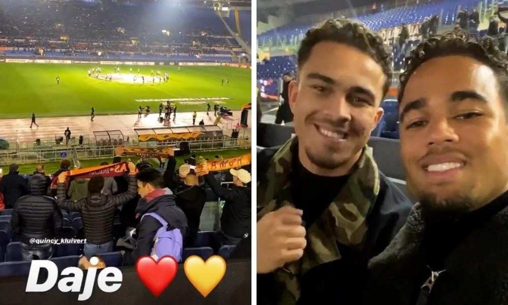Justin Kluivert in compagnia del fratello per Roma-Wolfsberger