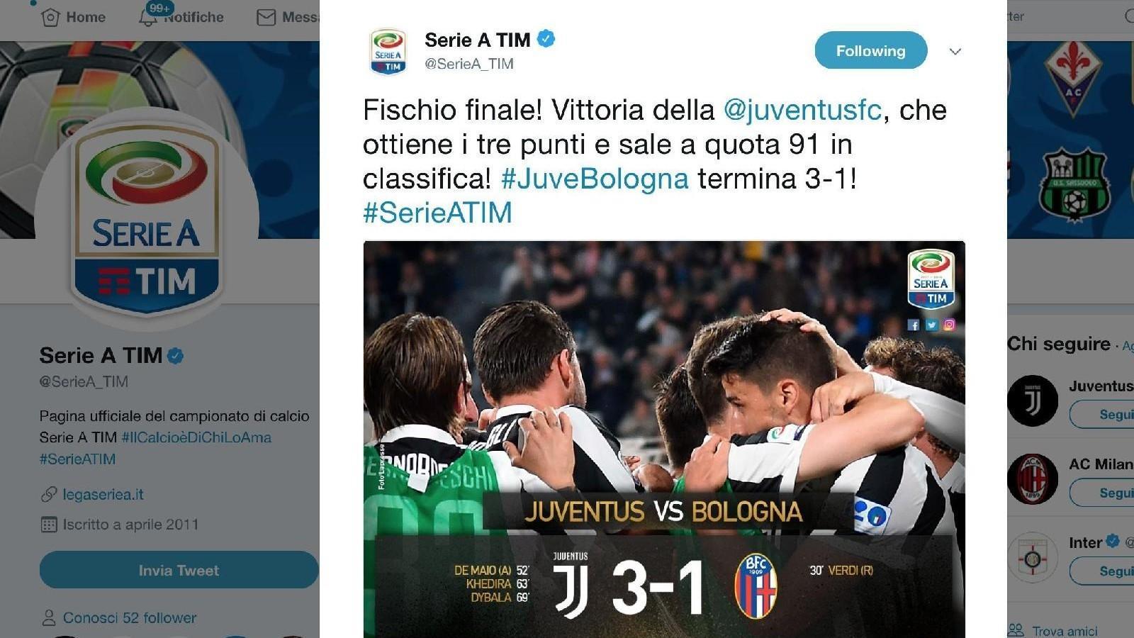c445e19d4d Juve-Bologna 3-1: bianconeri a +7 sul Napoli, che domani affronterà il  Torino