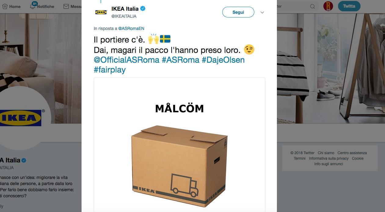 Ikea Risponde Alla Roma Il Portiere Cè Magari Il Pacco Lhanno