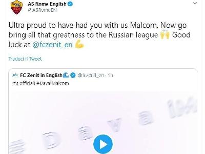 Il tweet di AS Roma English in risposta al video di presentazione di Malcom allo Zenit